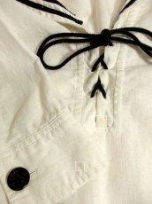 画像5: USA古着 レトロマリン×ガーリー♪大きな襟・マリンテイスト刺繍が可愛い!!胸元リボン結び。マリンルックスタイルワンピース ネイビー×オフホワイト (5)