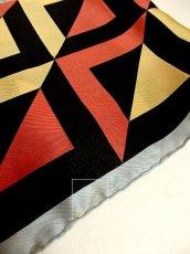 画像5: レトロアンティーク ヴィンテージスカーフ 幾何学柄【3404】 (5)