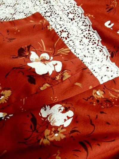 画像3: ☆ USA古着 ガーリーな贅沢レース装飾にうっとり♪フラワーレース×アンティークフラワーパターン切替え★レトロガーリーなふんわりヴィンテージスカート ☆