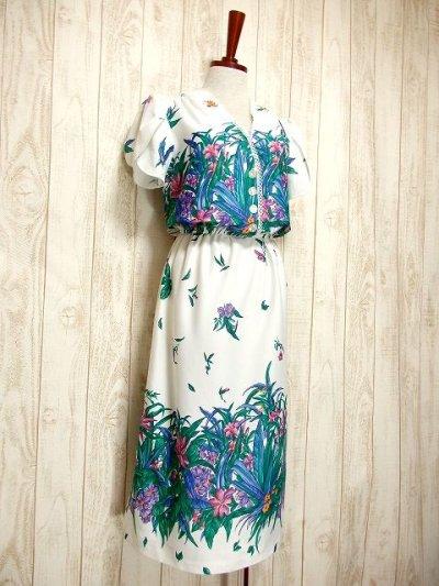 画像1: USA古着 はなやかボタニカルプリント柄&めずらしいデザイン♪綺麗なカラーリング配色☆シルエットライン 大人ヴィンテージワンピース