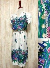 画像1: USA古着 はなやかボタニカルプリント柄&めずらしいデザイン♪綺麗なカラーリング配色☆シルエットライン 大人ヴィンテージワンピース (1)