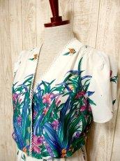 画像3: USA古着 はなやかボタニカルプリント柄&めずらしいデザイン♪綺麗なカラーリング配色☆シルエットライン 大人ヴィンテージワンピース (3)