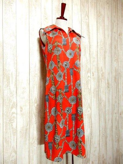 画像1: ヨーロッパ古着 スカーフ柄×レトロアンティークなタッセル柄♪1着でばっちり!!華やか&お洒落に決まる!!ハイセンスな70's大人ヴィンテージドレス