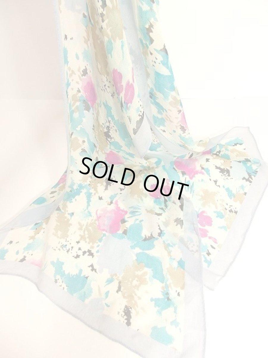 画像1: レトロアンティーク ヴィンテージスカーフ 綺麗なカラーリング 水彩画フラワーモチーフ【3555】 (1)