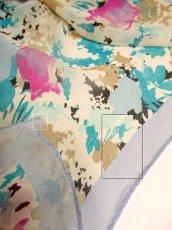 画像5: レトロアンティーク ヴィンテージスカーフ 綺麗なカラーリング 水彩画フラワーモチーフ【3555】 (5)