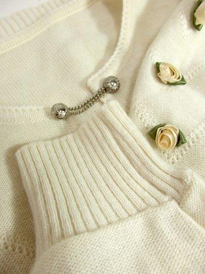 画像3: ☆ ヨーロッパ古着 お花装飾が可愛い♪レトロガーリー☆チロルカーディガン オフホワイト ☆