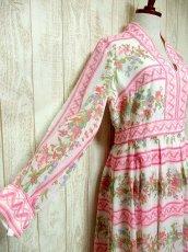 画像3: ヨーロッパヴィンテージ ピンク×アンティークフラワー柄♪乙女ガーリーアンティークドレス (3)