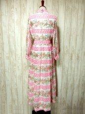 画像4: ヨーロッパヴィンテージ ピンク×アンティークフラワー柄♪乙女ガーリーアンティークドレス (4)