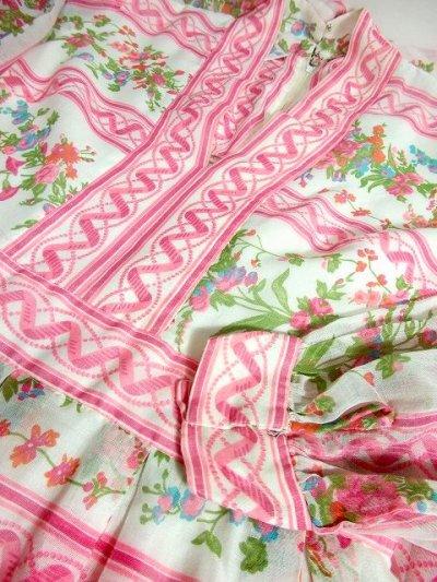 画像3: ヨーロッパヴィンテージ ピンク×アンティークフラワー柄♪乙女ガーリーアンティークドレス