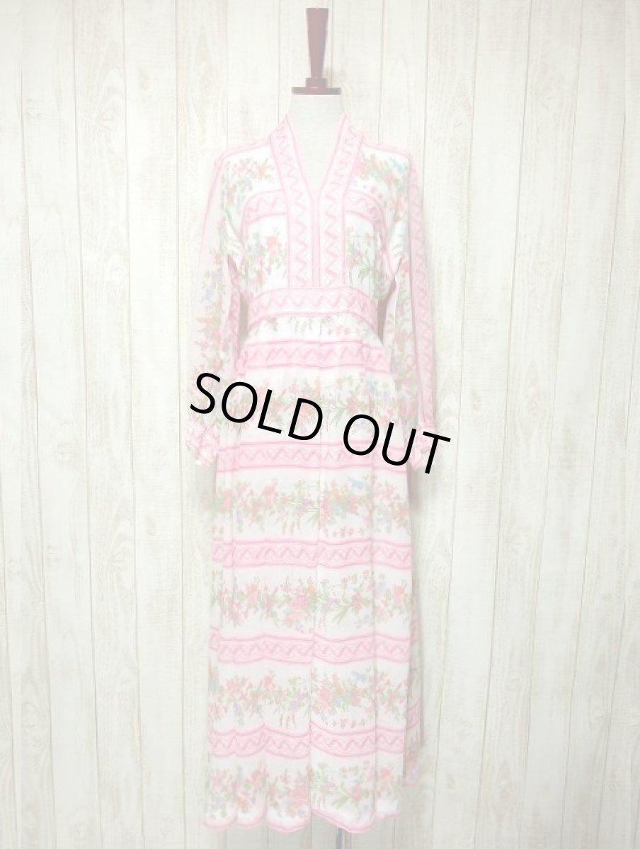 画像1: ヨーロッパヴィンテージ ピンク×アンティークフラワー柄♪乙女ガーリーアンティークドレス (1)
