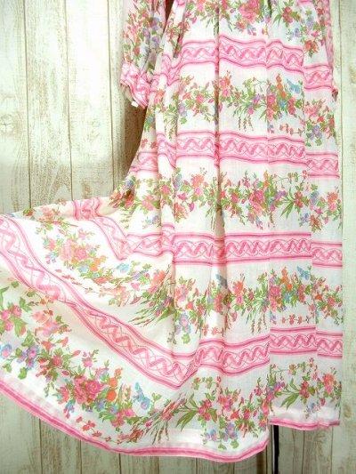 画像2: ヨーロッパヴィンテージ ピンク×アンティークフラワー柄♪乙女ガーリーアンティークドレス