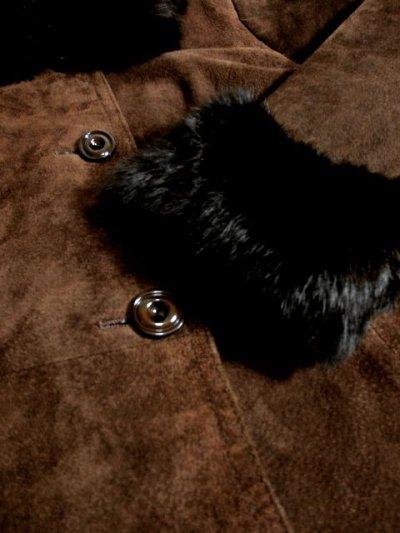 画像3: ☆ 大人カッコイイ×レトロフォークロアstyle♪大きな襟&袖リブがファーがステキ!!綺麗なシルエットラインが素晴らしい 70'sスウェードヴィンテージコート ☆