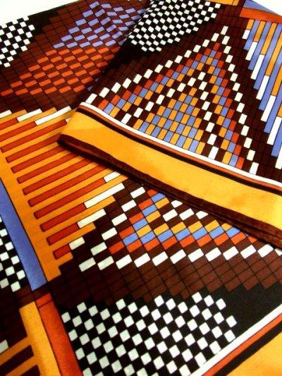 画像2: レトロアンティーク ヴィンテージスカーフ レトロな幾何学柄模様【3740】