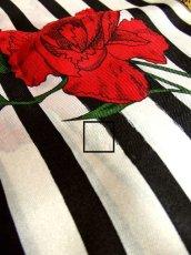 画像6: レトロアンティーク ヴィンテージスカーフ モノクロ×フラワー【3738】 (6)