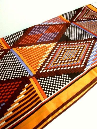 画像3: レトロアンティーク ヴィンテージスカーフ レトロな幾何学柄模様【3740】
