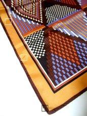画像5: レトロアンティーク ヴィンテージスカーフ レトロな幾何学柄模様【3740】 (5)