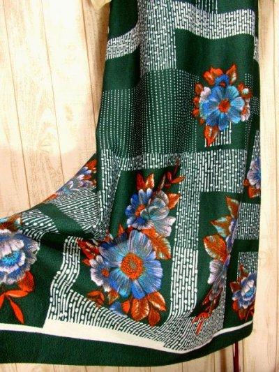 画像2: ヨーロッパ古着 ボリュームたっぷり♪ふんわりバルーン袖がキュート!!深いgreen地にドット・フラワー・レトロ柄☆フォークロア×大人可愛いヴィンテージドレス