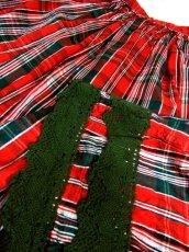 画像5: ☆ ヨーロッパ古着 チェック柄プリント♪グリーンカラーコットンレース装飾がかわいい ヴィンテージガーリースカート ☆ (5)
