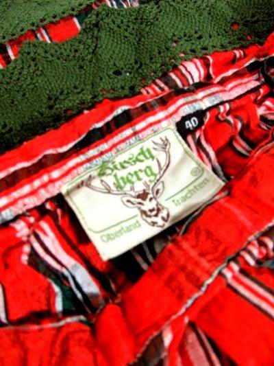 画像3: ☆ ヨーロッパ古着 チェック柄プリント♪グリーンカラーコットンレース装飾がかわいい ヴィンテージガーリースカート ☆