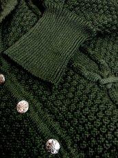 画像4: ☆ ヨーロッパ古着 大人っぽいGreenカラー×模様編みが素敵♪チロルスカートとも相性抜群★レトロフォークロア チロルニットカーディガン  ☆ (4)