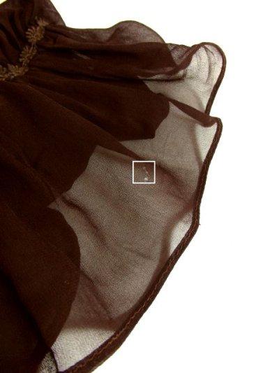 画像3: ヨーロッパ古着 ふんわりボリューム袖♪クラシカル模様切り替えデザイン!!後ろウエストブローチ付き 大人レトロアンティークスタイル♪華やかヴィンテージドレス