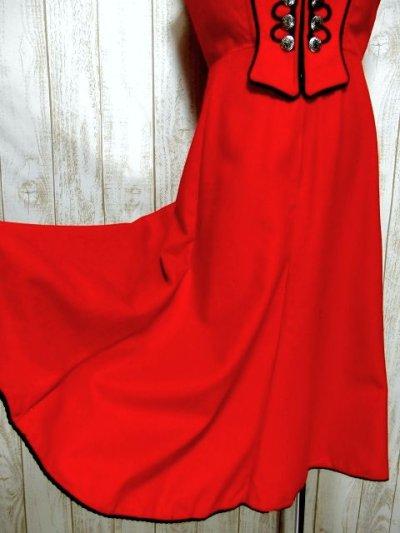 画像2: レッド ブラック フロントジッパー ノースリーブ クラシカル ディアンドル チロルワンピース ドイツ民族衣装 舞台 演奏会 フォークダンス オクトーバーフェスト 【3859】