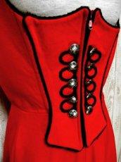 画像3: レッド ブラック フロントジッパー ノースリーブ クラシカル ディアンドル チロルワンピース ドイツ民族衣装 舞台 演奏会 フォークダンス オクトーバーフェスト 【3859】 (3)