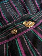 画像2: カルガモ&ハートのウッド調ボタンが可愛い ベロアテープ装飾 ストライプ柄 チロルスカート ドイツ民族衣装 舞台 演劇 演奏会 フォークダンス オクトーバーフェスト 【3613】 (2)