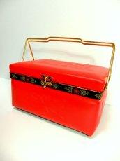 画像1: ☆ お花刺繍のチロリアンテープ装飾♪1960年代sewing boxソーイングバスケット 裁縫・HandMade好きな方にもおすすめ ☆ (1)