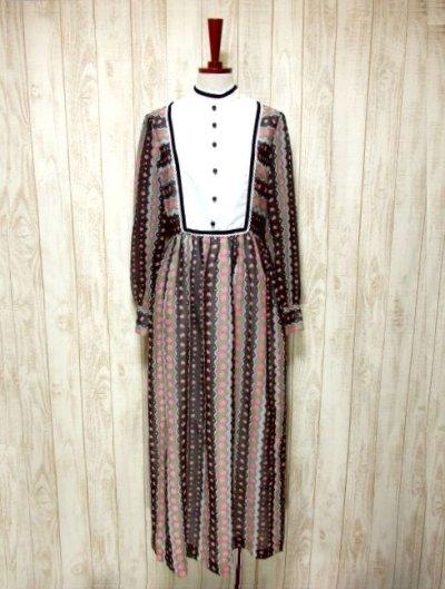 画像1: ヨーロッパ古着 イギリス製★大人可愛い×レトロクラシカル♪Pinkアンティークフラワー☆ベロアテープ・レース装飾♪ふんわりガーリーヨーロピアンヴィンテージドレス
