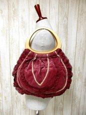 画像2: レース リボンテープ装飾 持ち手ウッドで可愛い ガーリー レディース レトロ ハンド 鞄 バッグ【4019】 (2)