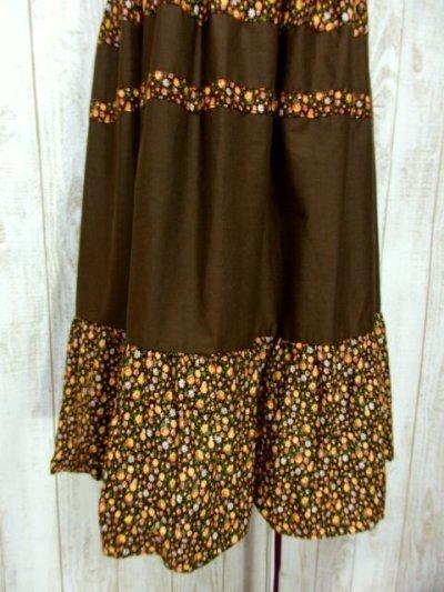 画像2: ☆ ヨーロッパ古着 小花柄×ブラウンカラー切り替えしデザイン♪♪ふんわりレトロガーリーなヨーロピアンヴィンテージスカート ☆