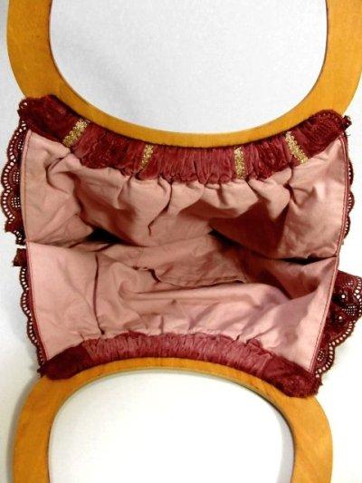 画像2: レース リボンテープ装飾 持ち手ウッドで可愛い ガーリー レディース レトロ ハンド 鞄 バッグ【4019】
