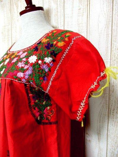 画像2: USA古着 手刺繍がたっぷり丁寧に施された温かみのあるVintageメキシカンドレス6 鳥×花