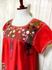 画像2: USA古着 手刺繍がたっぷり丁寧に施された温かみのあるVintageメキシカンドレス6 鳥×花 (2)
