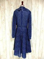 画像5: ヨーロッパ古着 イギリス製★2重ティアードフリル調デザイン襟♪首元リボン結び。ネイビー×ホワイト 大人Dotヨーロピアンヴィンテージドレス ベルトSET (5)