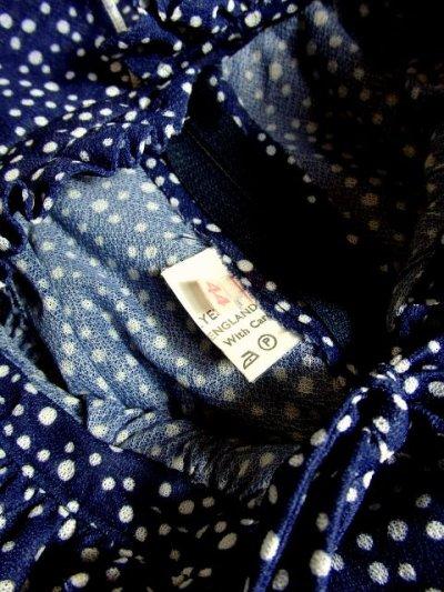 画像3: ヨーロッパ古着 イギリス製★2重ティアードフリル調デザイン襟♪首元リボン結び。ネイビー×ホワイト 大人Dotヨーロピアンヴィンテージドレス ベルトSET