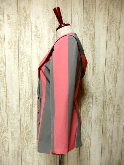 画像3: ☆ ストライプ×Pink・Gray フード付きデザインがめずらしく可愛いー!! お洒落なSpringヴィンテージジャケット ☆