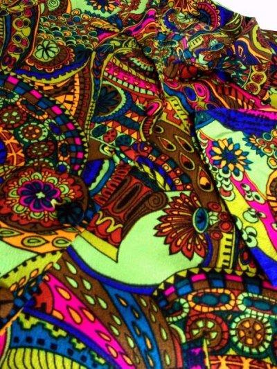 画像3: USA古着 レトロサイケなカラーリングと大胆ヴィンテージレトロパターンに釘付け〜!!さらりと着て個性的に変身♪レトロサイケな大人ヴィンテージドレス
