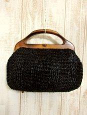 画像2: ウッドハンドル ブラック ころんとしたカタチが可愛らしい レディース レトロ 鞄 バッグ【4224】 (2)