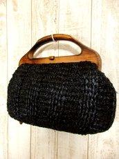 画像1: ウッドハンドル ブラック ころんとしたカタチが可愛らしい レディース レトロ 鞄 バッグ【4224】 (1)