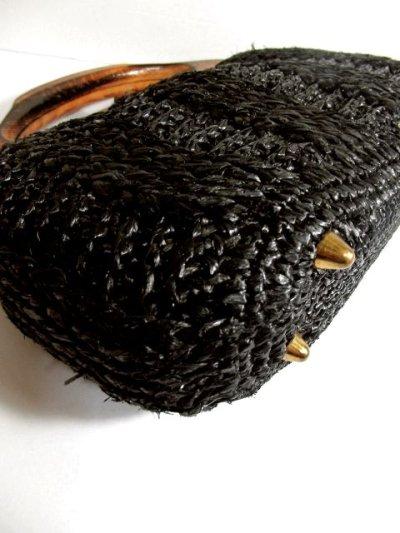 画像3: ウッドハンドル ブラック ころんとしたカタチが可愛らしい レディース レトロ 鞄 バッグ【4224】