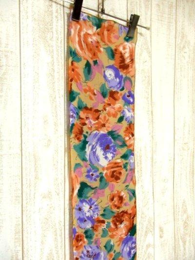 画像1: レトロアンティーク ヴィンテージスカーフ 花柄 水墨画モチーフ【4261】