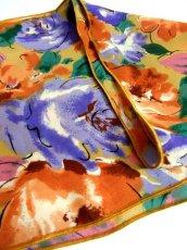 画像5: レトロアンティーク ヴィンテージスカーフ 花柄 水墨画モチーフ【4261】 (5)