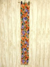 画像4: レトロアンティーク ヴィンテージスカーフ 花柄 水墨画モチーフ【4261】 (4)