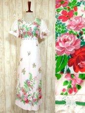 画像1: ヨーロッパ古着×可愛らしいアンティークフラワープリントがCUTE×レース装飾!!乙女アンティークなガーリードレス (1)