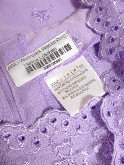 画像3: お花刺繍が素敵 袖にも贅沢刺繍 ふんわり大人可愛い ヨーロッパ古着 ヴィンテージ半袖刺繍TOPS パープル【4394】