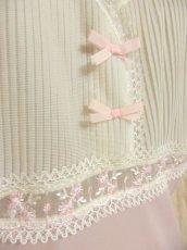 画像4: ヨーロッパ古着 ワンピースにはもちろん♪重ね着にも便利で可愛い!!ヨーロッパスリップドレスワンピース オフホワイト×ペールピンク (4)