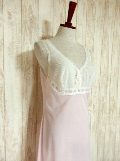 画像1: ヨーロッパ古着 ワンピースにはもちろん♪重ね着にも便利で可愛い!!ヨーロッパスリップドレスワンピース オフホワイト×ペールピンク