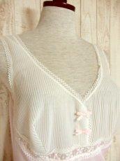 画像3: ヨーロッパ古着 ワンピースにはもちろん♪重ね着にも便利で可愛い!!ヨーロッパスリップドレスワンピース オフホワイト×ペールピンク (3)